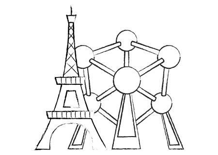 eiffel tower and atomium - worldwide blackjack
