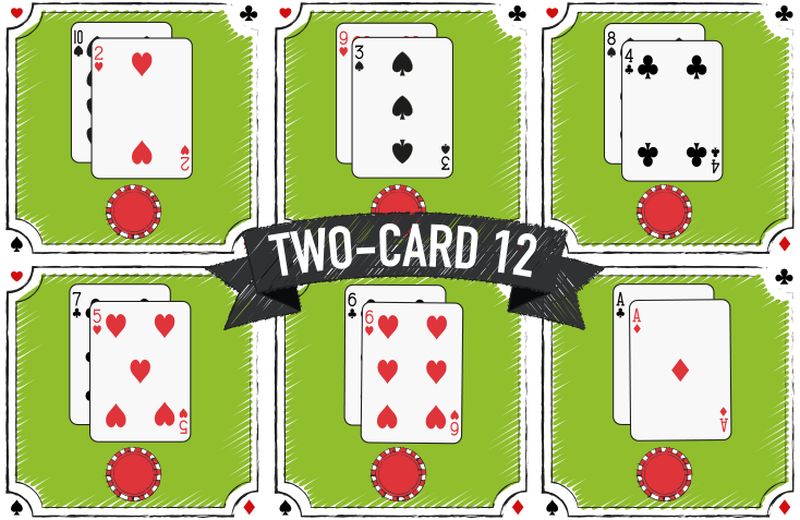 Two Cards versions that creates a 12 at blackjack