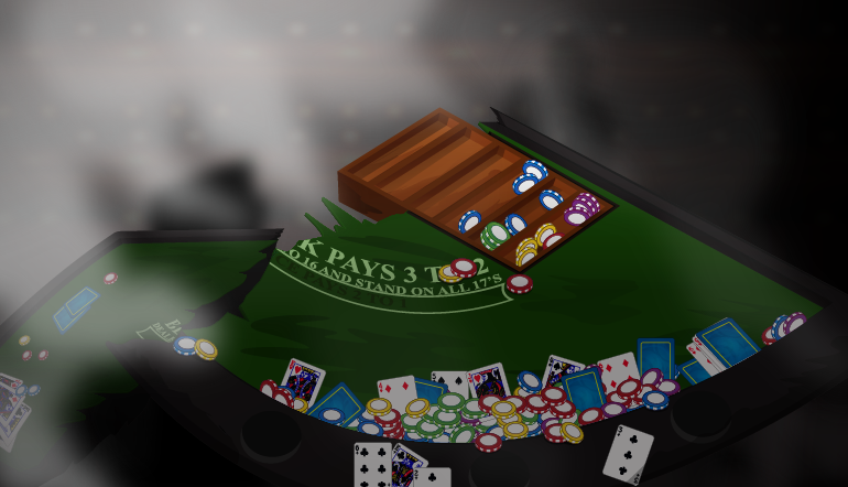Ruined blackjack table