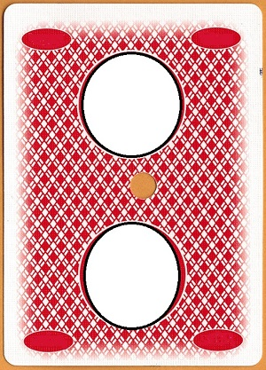 An image of a back of a card - the top border is much wider than the bottom border