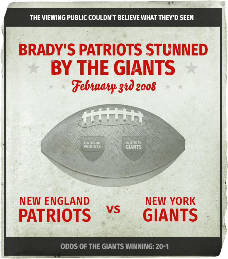 new england patriots vs new york giants odds 20:1