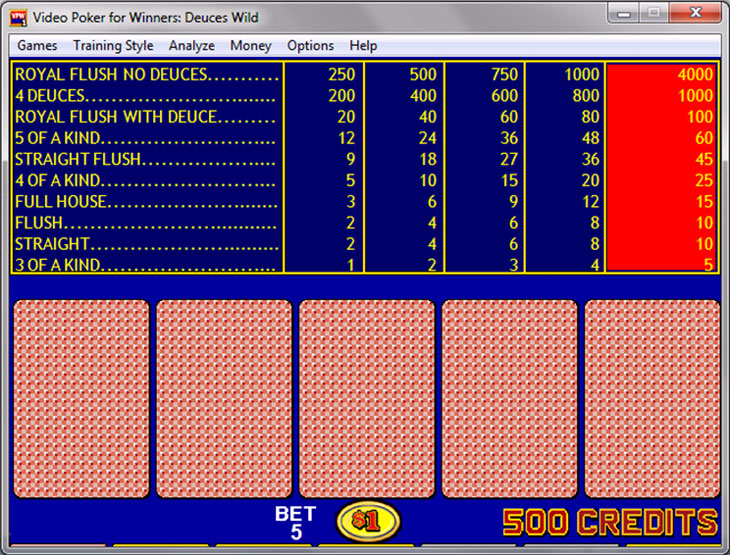 Dueces Wild Video Poker payouts on screen